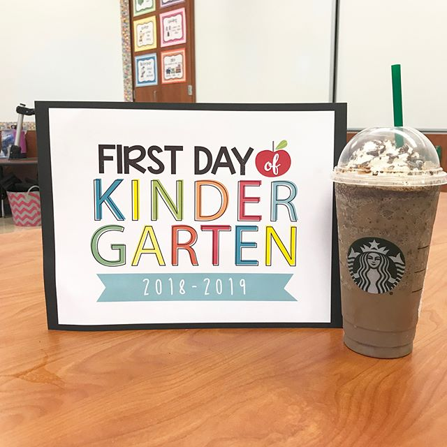 First day of Kindergarten + the first Starbucks of the school year. 😊 The Kindergarteners had an awesome first day of school! #woiusd1stday2018