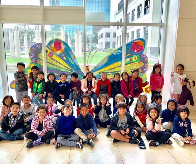 Kindergarten field trip to the Segerstrom Center to watch The Very Hungry Caterpillar, Little Cloud, and The Mixed Up Chameleon