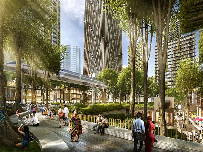 US architect Skidmore, Owings & Merrill (SOM) digital rendering of the financial district