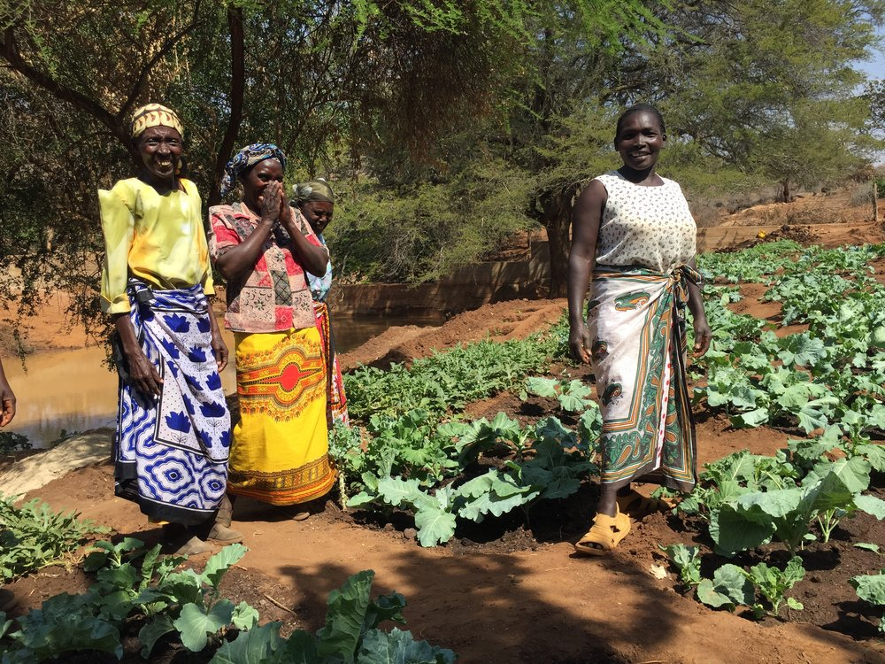 The woman on the right in this picture is Agne, her fondest desire was that her daughter wouldn't have to walk miles for water like she has for her lifetime. You can see the joy on Agnes' face as she stands proudly next to the crops she and the others in her community are growing.
