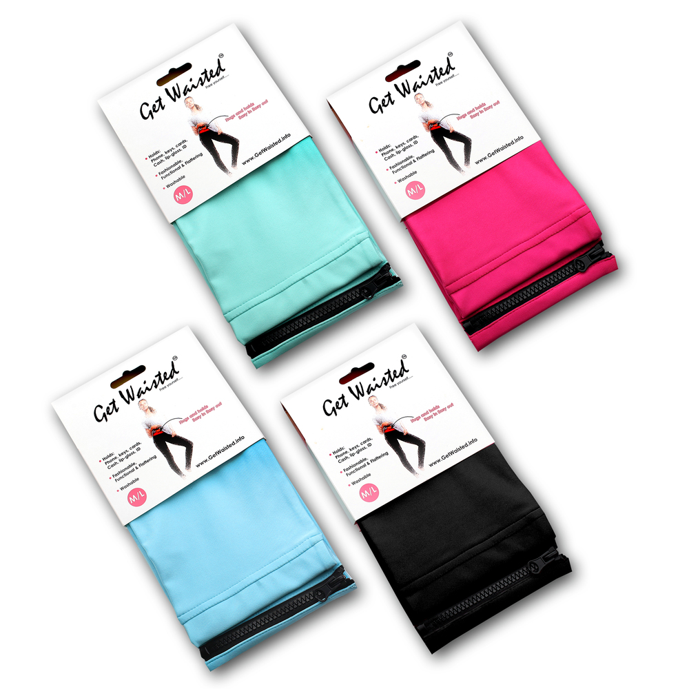 Get Waisted's fashionable waist packs come in multiple colors and multiple sizes to fit everyone