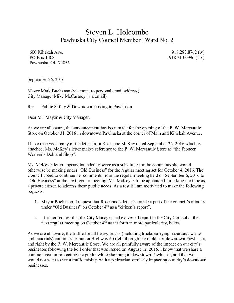 Parking Issue Letter To Mayor  Steven L Holcombe  Attorney At Law