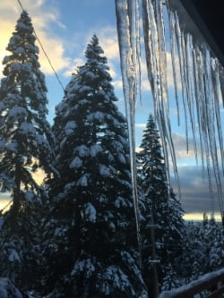 icicles & snow in Lake Tahoe