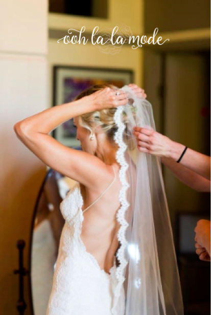a photo of me putting on my veil before the wedding ceremony