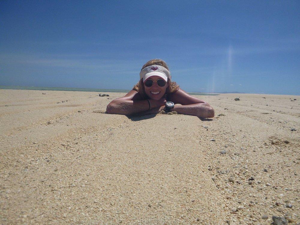 chill on a sandbar