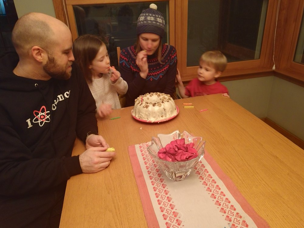 Celebrating my 34th birthday with my family. My mom even made me a carrot cake — the same recipe she has used since I was little.