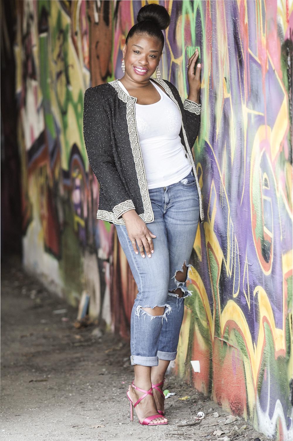 Boyfriend jeans, sequin jacket, hidden treasures,