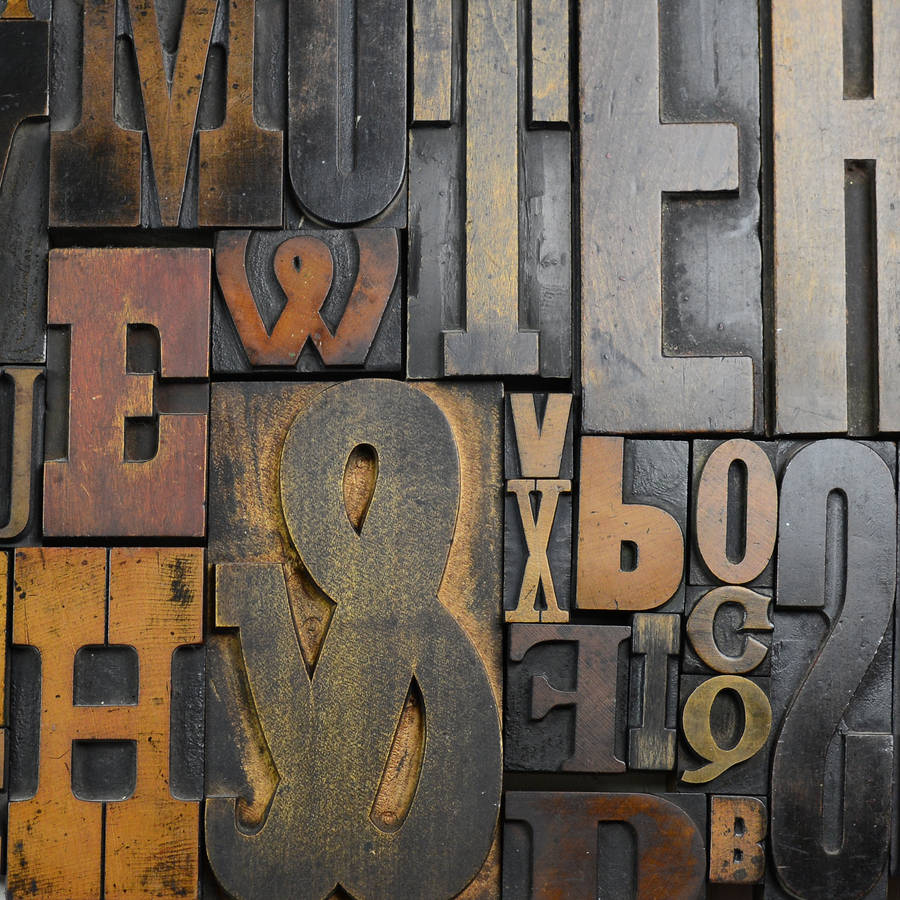 - Examples of some large movable type made of wood that I used for many of my assignments in 1984