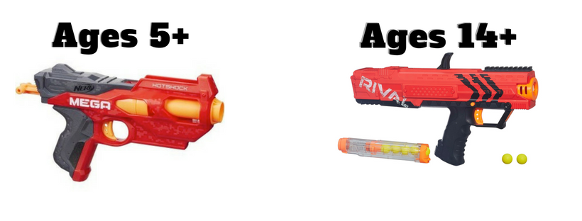 We have recommended ages for each Nerf gun we use. If you have any further questions, please give us a call.