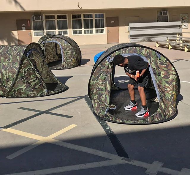 Laser tag event with camouflage tents. The younger players love to run through them.  #PartyXtreme #LaserTagRental #alphapoint #nerflaseropspro
