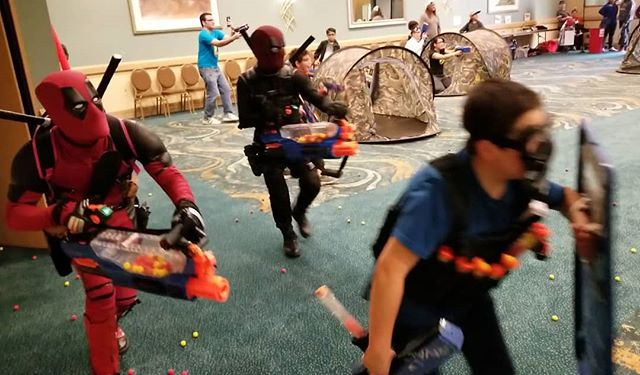 Having a great time with the #MadNerfWar at the @longbeachcomicexpo  Come see us today in room 103  #lbce #lbce #nerf #nerfprometheus #PartyXtreme
