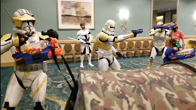 It was a long day of battle during the #MadNerfWar .  The red team had taken many victories until the @official501st brought the fight back. Under the leadership of General Kenobi, the blue team struck back and triumphed over their opponents that day.  #partyxtreme #lbce #lbce2019 #longbeachcomicexpo #nerfwar #nerfwars #nerfrival #clonewars #clonewarssaved #nerfprometheus #cosplay  #nerf #lbce19 #lbcc #longbeachcomiccon