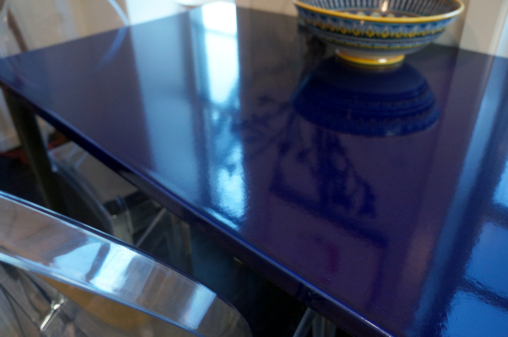 Tabletop, Indigo glaze.  Private apartment, West Village, NYC.