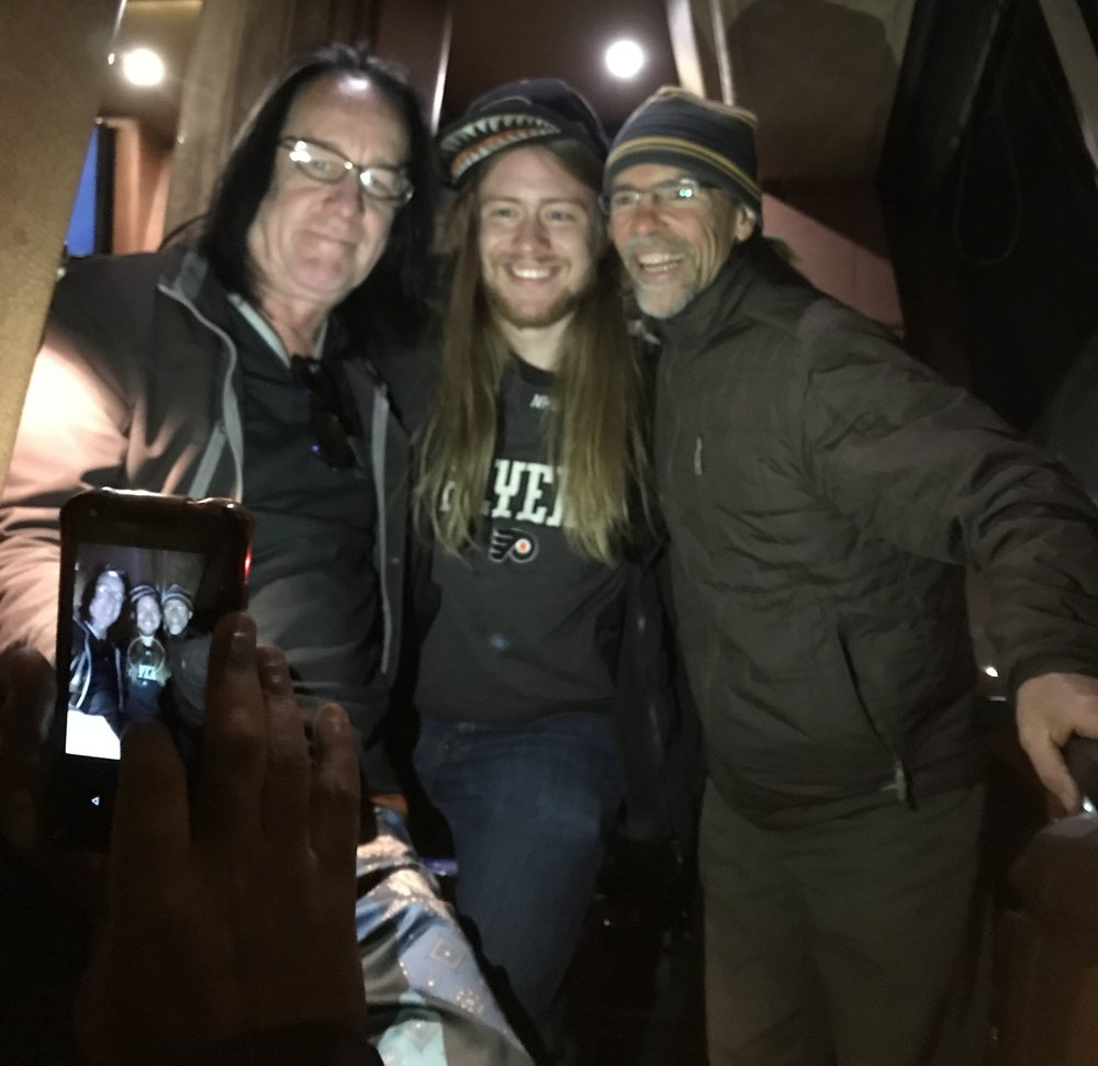 On the tour bus with Todd and my friend Zack!