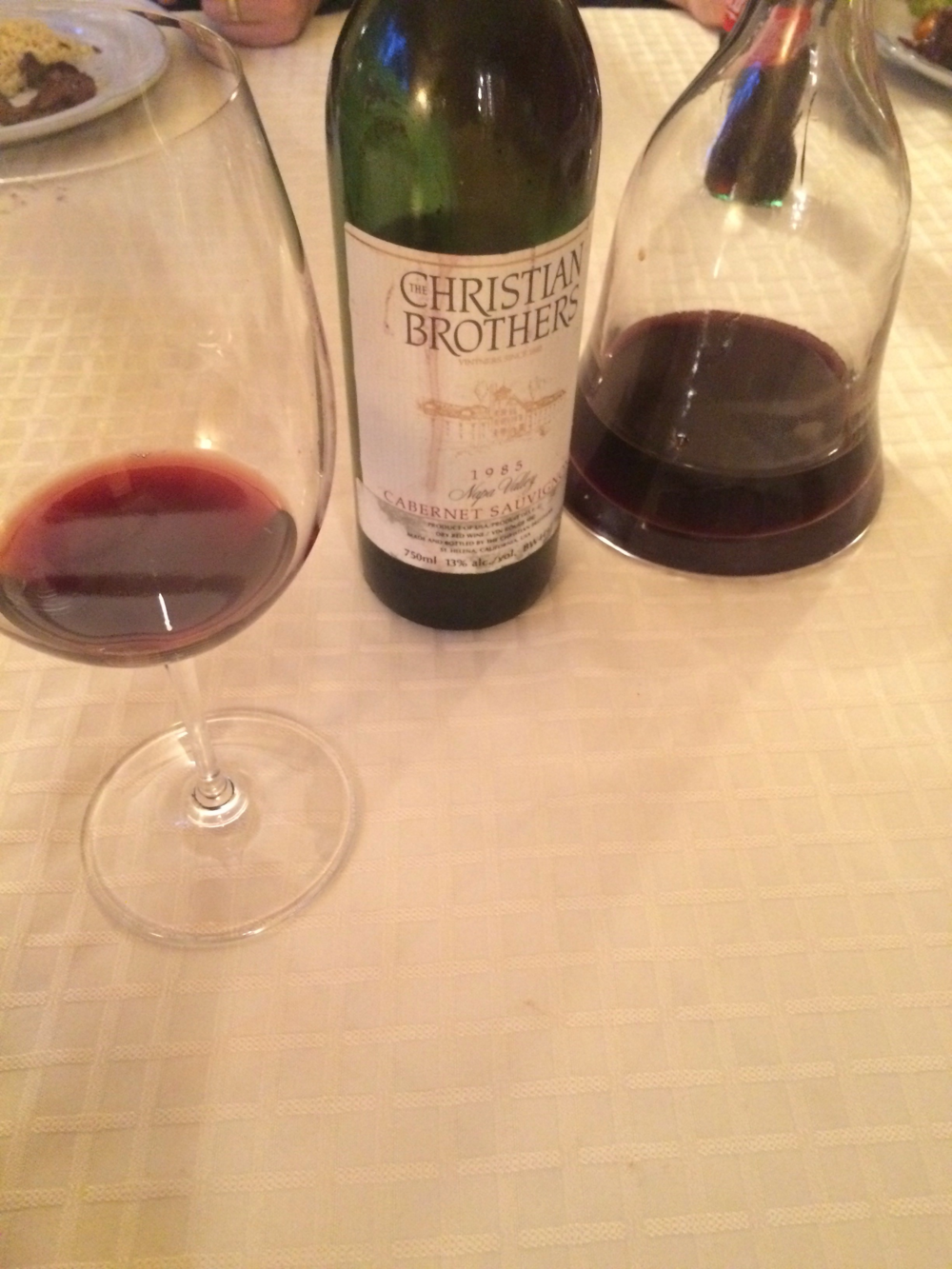 The Christian Brothers Cabernet Sauvignon, a tasting of the 1985 vintage.
