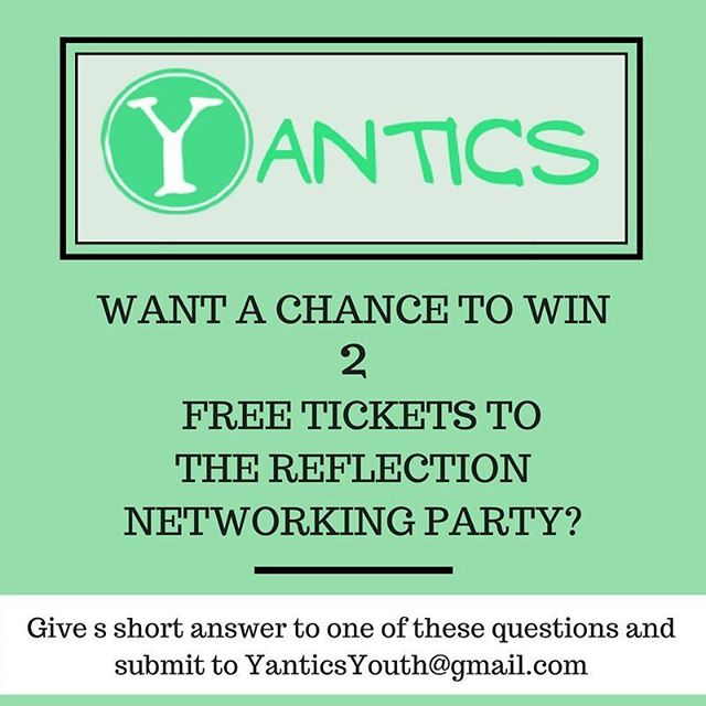 We have two free tickets to give away for Reflection, happening this Saturday! Email your answer to one of the two questions and you can be the lucky winner 🍀❤ | Special thanks to @terencepenny! Give him a follow and listen to his music. . . . .  #event #torontoyouth #Toronto #torontoevents #networking #fundraiser #giveaway #free #Yantics #youth #organization #website