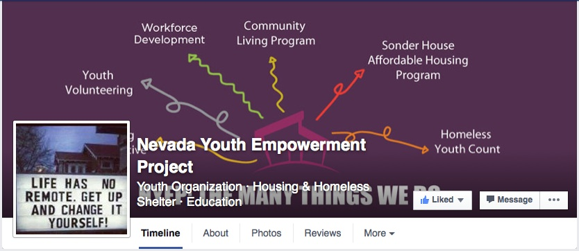 Screengrab from the Nevada Youth Empowerment Project's Facebook page. The community-based youth service provider helps homeless young adults.
