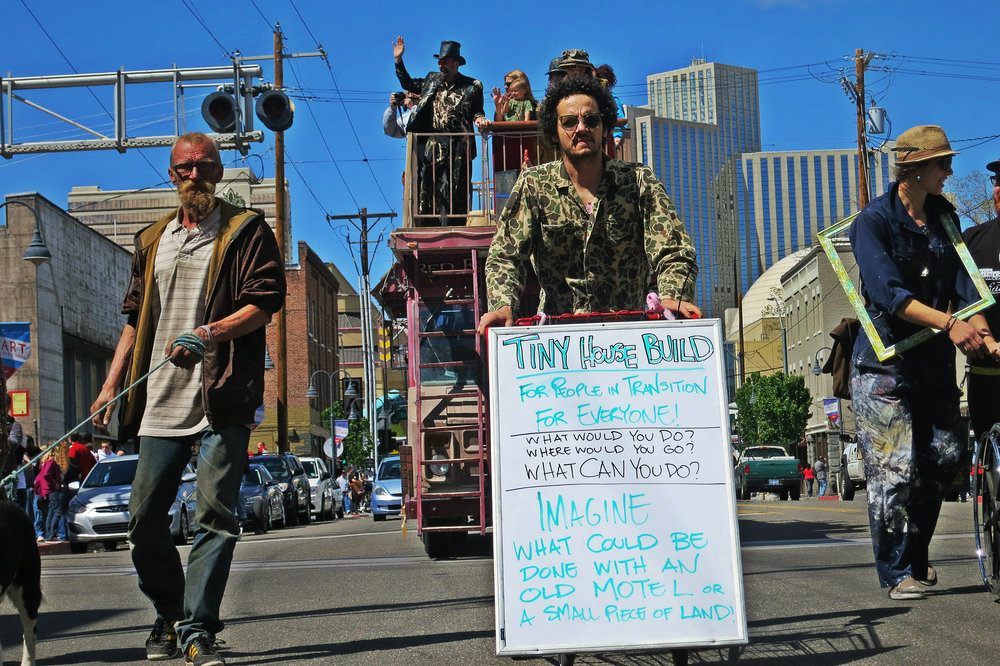 An Artist on a Mission: Chris Wyatt Scott took part in last month's 4th street parade, and spent the rest of the day building a tiny home with discarded wood he found in the downtown Reno area.