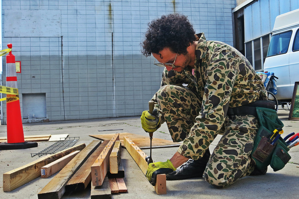Chris prepared the wood for his one-day project and eyeballed what he had to determine his course of building.