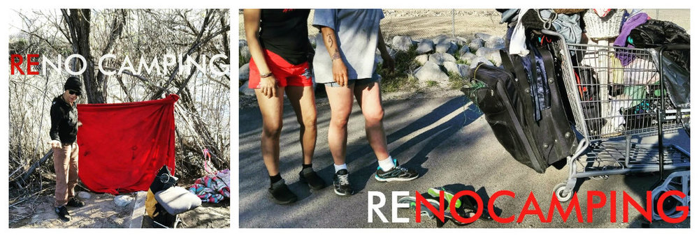 "Screengrabs from Chris's Facebook page. ""Everywhere there's concrete, NO CAMPING has been stenciled in.  You can put a ""RE"" in front of this and it becomes ""RENO CAMPING"" because that's what's going down by the river. This is Reno style."""