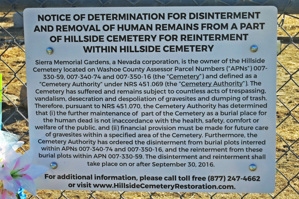 This notice posted outside the cemetery in late August has added new urgency to saving the Hillside cemetery.