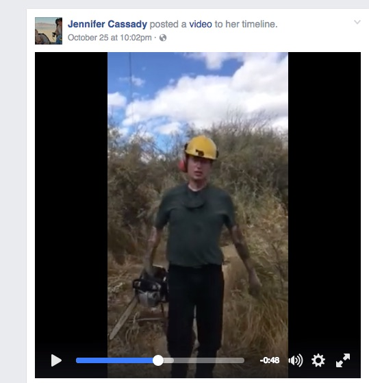 Screengrab of a video Cassady posted on Facebook last month. Click link below to watch.