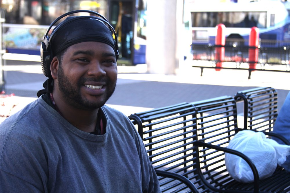 Raymond Hayes was on a bench in downtown Reno. Photo by Jose Olivares.