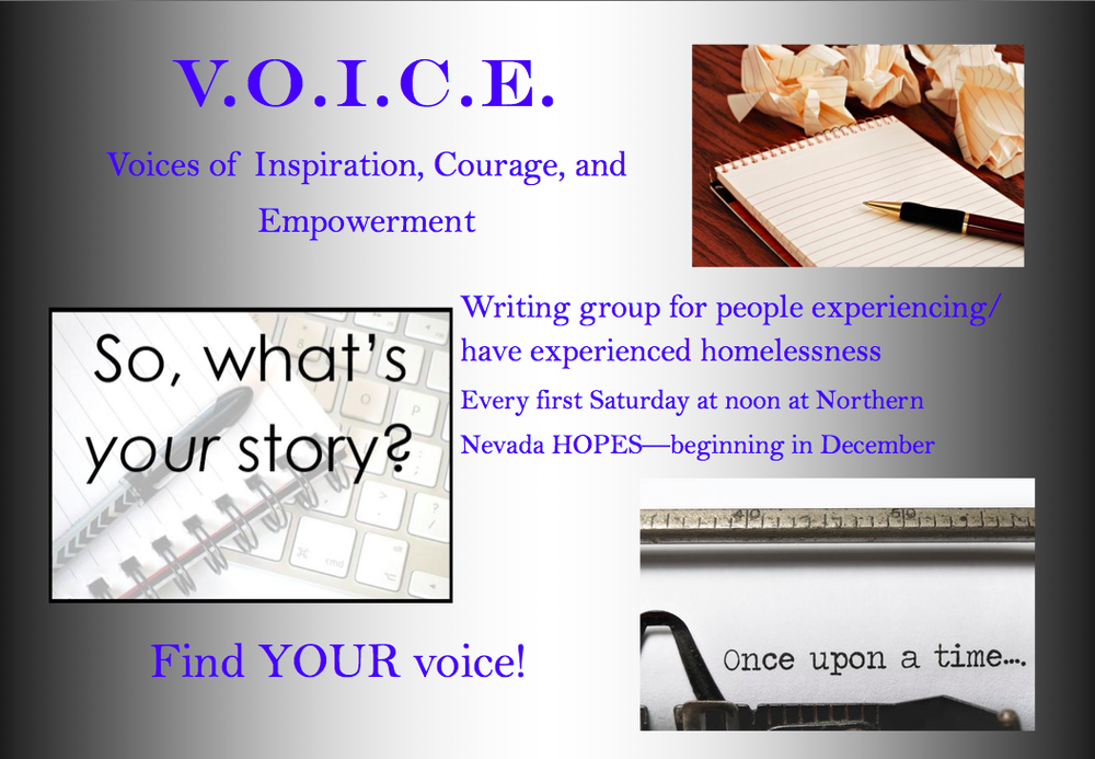 A screengrab of a promotion for the upcoming V.O.I.C.E. writing group.