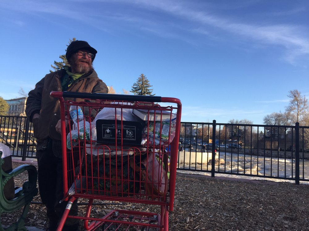 After taking a picture of him previously while he was panhandling in the sun, Our Town Reno met up again with Hobo, who says his real name is Leroy. Photo by Danielle DeRosa
