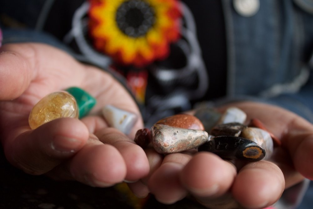 """These are stones I've gathered throughout my life and they all have energy,"" Ramirez said. Photo by Alexandra Mosher / Our Town Reno"