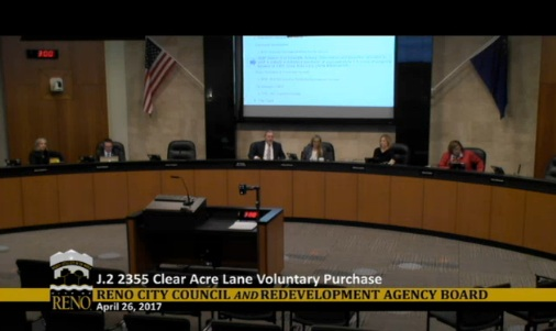 The scene from Wednesday's meeting where council members spoke against buying new property for a homeless related project.