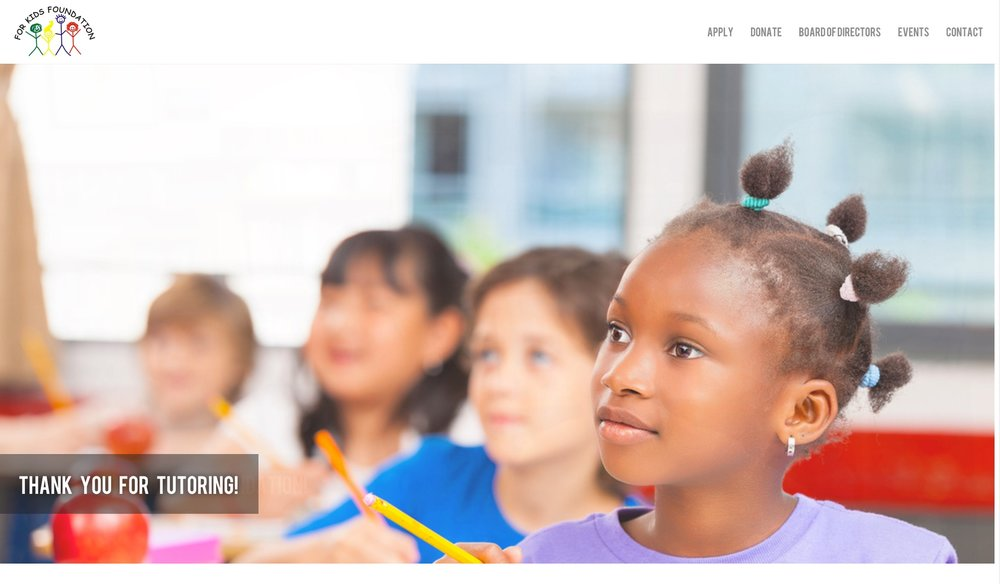 A screengrab from the For Kids Foundation website, which among other possibilities, offers tutoring.