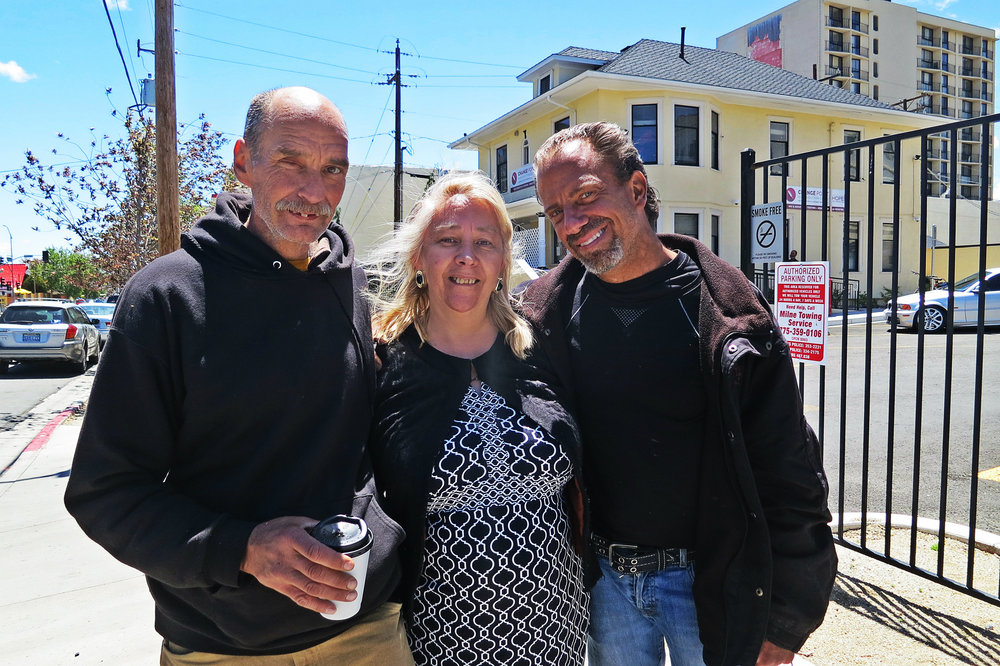 """You give people hope, You tell them 'it's ok, today is a bad day, but tomorrow will be a better day'. Here you don't judge people,"" Diaz (center) with two clients of Change Point she has helped.  ""You get people as they are and you just support them, and give them love and compassion and they give you love back. I get a lot of love every time I go there."""