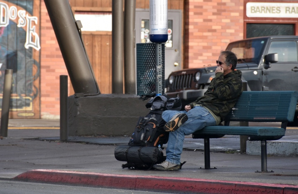 King said hopes to find a job soon and a girlfriend to help him secure financial and emotional stability. While waiting for the next bus to arrive, he said he was going to call his mom to see how she was doing. Photo and reporting by Jordan Blevins shared with Our Town Reno.