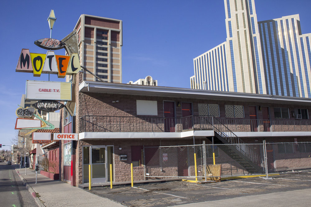 The Keno and El Ray motels are now long gone, replaced by an empty lot as part of Jacobs Entertainment plans. Photo by Robyn Feinberg for Our Town Reno.