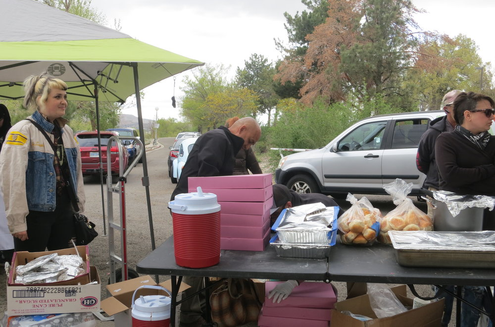 "Other Food Not Bombs volunteers prepared the food.  Goletto said she would like our culture to be less judgmental of those in need. ""We say 'oh I worked hard, I deserve this. And they didn't just work hard, they did drugs and that's why they are there, so they don't deserve my help. I'm going to just do nothing,'"" she said. ""But I don't think any person has the right to judge another person. Or what they need, or what help they deserve.  And if we can just have empathy and have the courage to be kind, that is important. Just open your heart. Just maybe look outside money and look outside greed."""