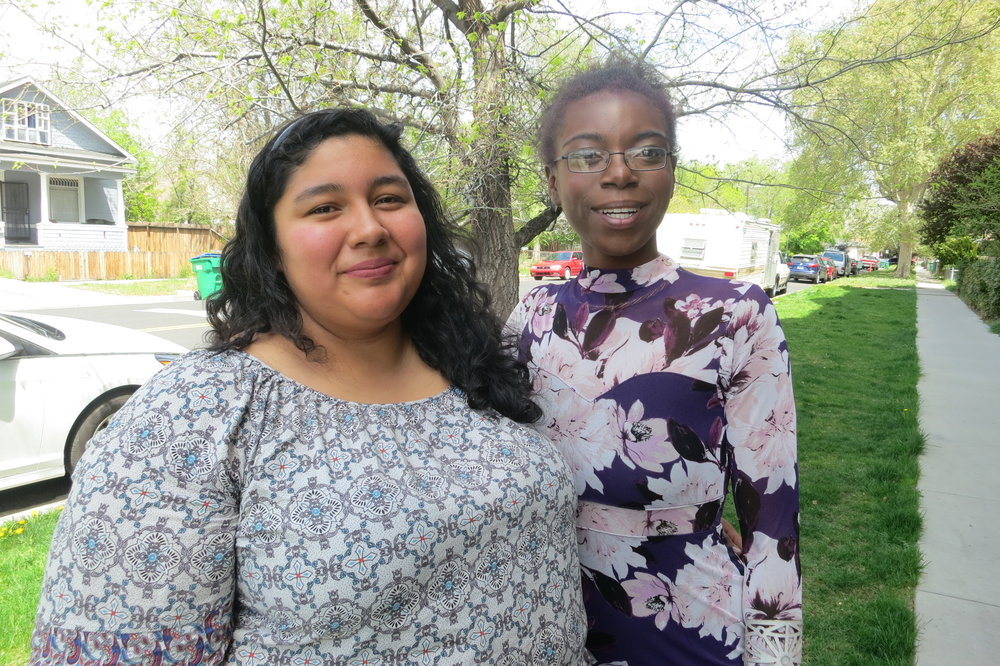 Legendary Baby Bleu (right) has been seeking help from different organizations as well as reaching out to help with their own programs, such as with Alejandra Hernandez Chavez (left) who works with ACTIONN, a faith-based organization working on social justice issues including affordable housing.