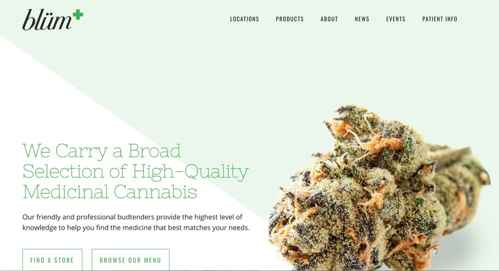A screengrab for the Blum dispensary where I worked.