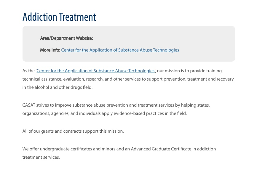 A screengrab from the UNR website and its Addiction Treatment center.