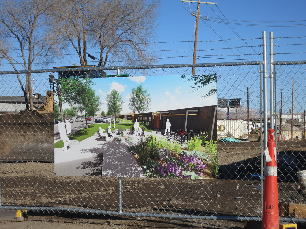 """The """"Village on Sage Street"""" tucked into busy motorways and junkyards with small prefabricated worker living structures trucked in from Wyoming was initially scheduled to open its doors in Thanksgiving, then before Christmas, but that hasn't happened."""