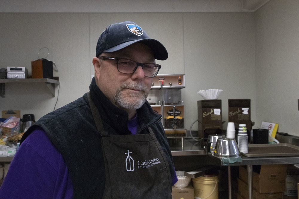 """People are here that need to be fed. They didn't necessarily ask to be in a position they're in,"" Eric Englund, the director of the St. Vincent's Dining Room, who was in the restaurant business for decades, said of a new initiative on cold mornings after the overflow shelter closes. Photo by Lucia Starbuck."