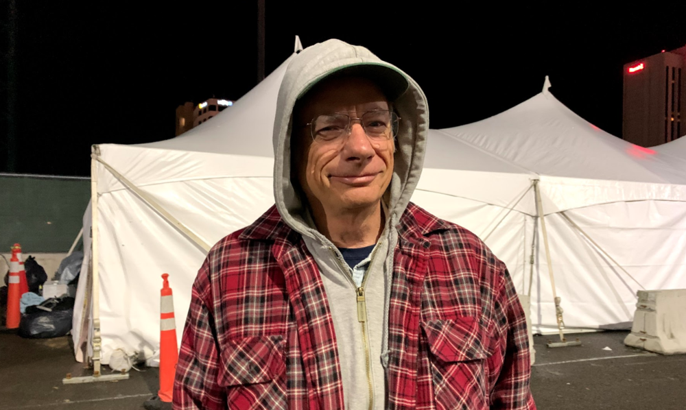 """I turn on all the lights, turn on the heaters, get the place ready for people to come in and be comfortable,"" Bob Jones said of his role of getting the overflow tent ready at nights during this past winter. ""I pull out all the blankets we give for that night. I give the list of names, people coming in, check them in…. I also turn the lights off when it's time to go sleep. That's going to be around 10 o'clock."" The Kentucky-born 65 year-old was raised in Los Angeles and the South Bay area and then went to work in Georgia, Florida, and Texas, before ending up in Reno."