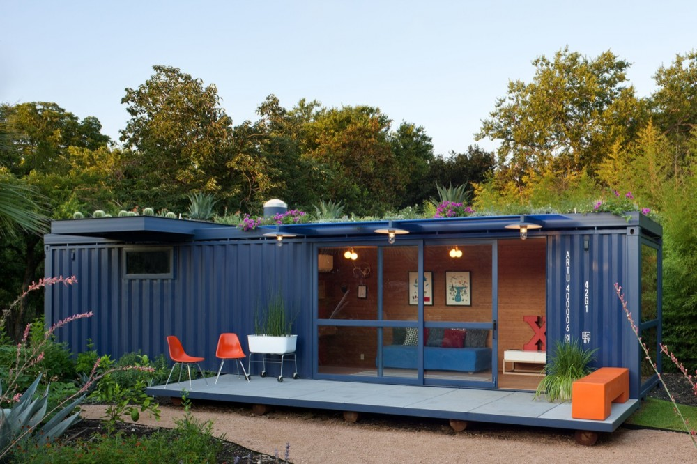 A modified shipping container home in Oakland, CA