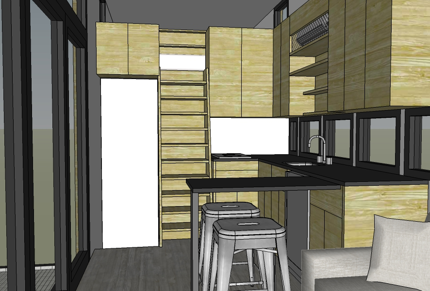 Slide out peninsula extended; bathroom pocket door closed. Ladder will include extended railings starting at cabinet height.