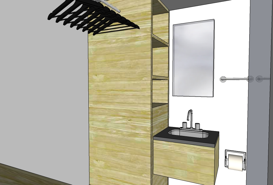 Bathroom with built-in shelving and hanging space. Will feature access panel for tankless water heater.