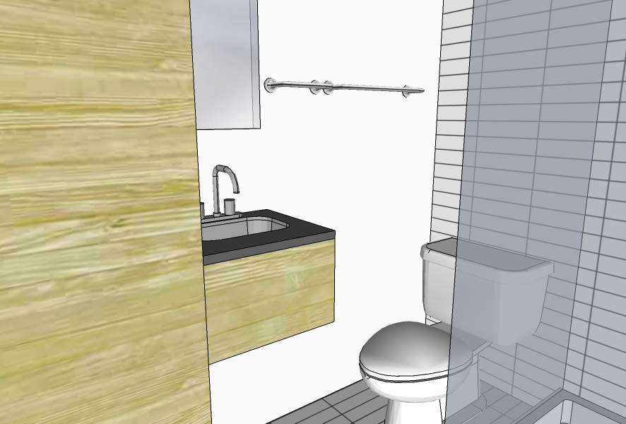 Toilet area and shower. To include a rounded shower curtain track for maximum space when not in use.