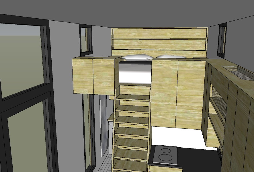View into lofted bedroom area. Operable windows on either side for ventilation. Built-in bookshelf headboard to feature built-in plugs, USB ports, reading lamps, and lipped edge for reading material.