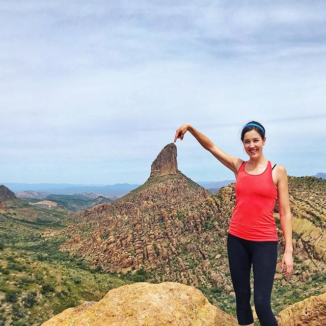 """Why hello #tinyhouseairbnb visitors, I'm your host, and I'd love to point you to this great hike: The Peralta Trail! Located on the """"back side"""" of the a Superstition Mountains, you'll climb over 1000 ft, across 2.5 miles through shaded grottos, along a creek, past a huge array of lush, blooming desert foliage, and arrive at this stellar view of Weaver's Needle–an ideal place to stop for lunch. The weather is just perfect right now, and since March has concluded, we finally have some nights available again this month. See you soon! 📷 credit: @melissasoprano #flythenest🌵 #getoutdoors #visitphoenix #tinyhouserental #airbnbhosts #dtphx #superstitionmountains #weaversneedle #hikersinaz"""