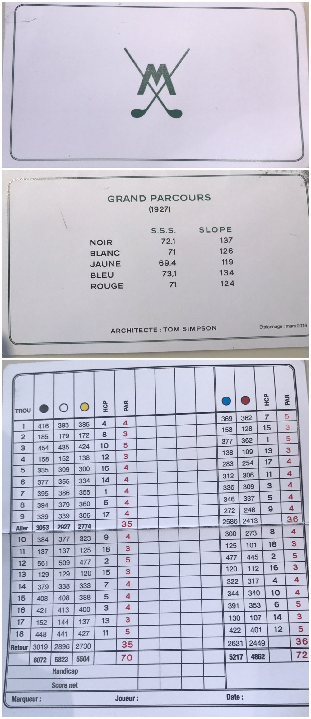 The Scorecard for Morfontaine Golf Course designed by Tom Simpson
