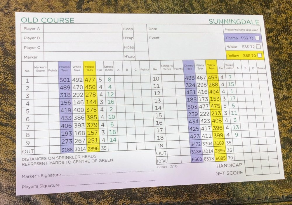 sunningdale old scorecard